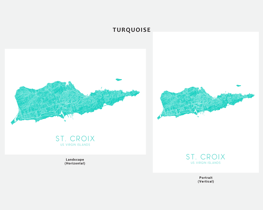 St. Croix USVI map print in Turquoise by Maps As Art.