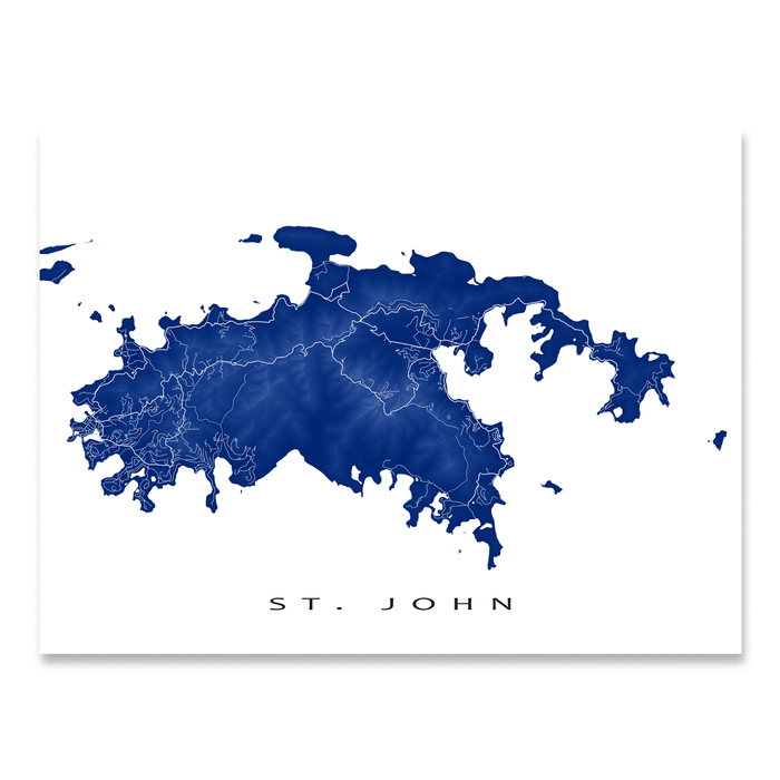 St. John, USVI map print with natural island landscape and main roads in Navy designed by Maps As Art.