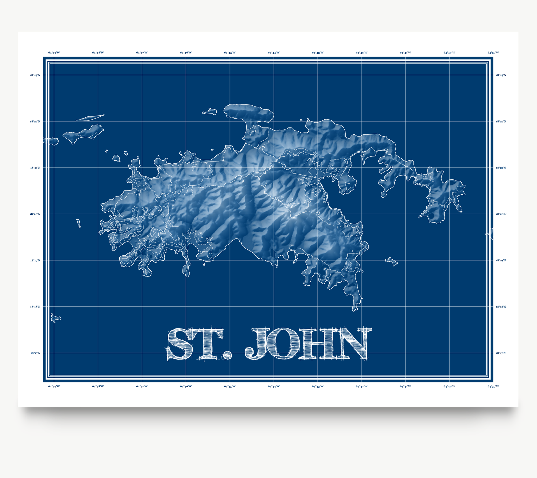 St. John USVI blueprint map art print designed by Maps As Art.