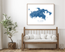 St. John US Virgin Islands map print with wooden bench home decor by Maps As Art.