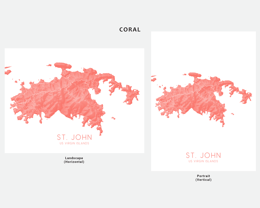 St. John US Virgin Islands map print in Coral by Maps As Art.