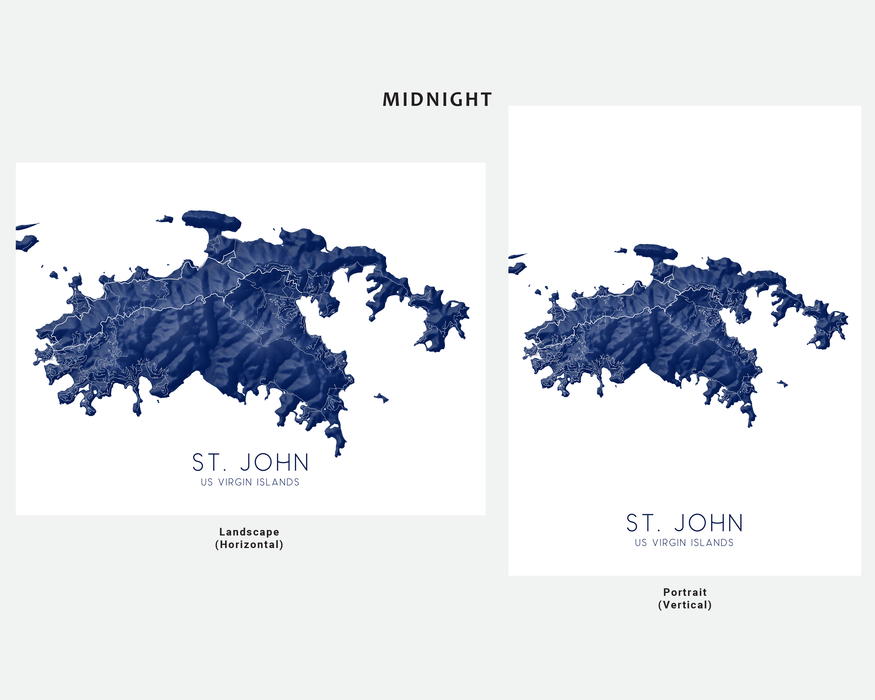 St. John US Virgin Islands map print in Midnight by Maps As Art.