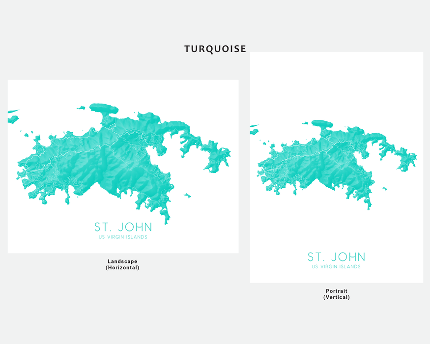 St. John US Virgin Islands map print in Turquoise by Maps As Art.