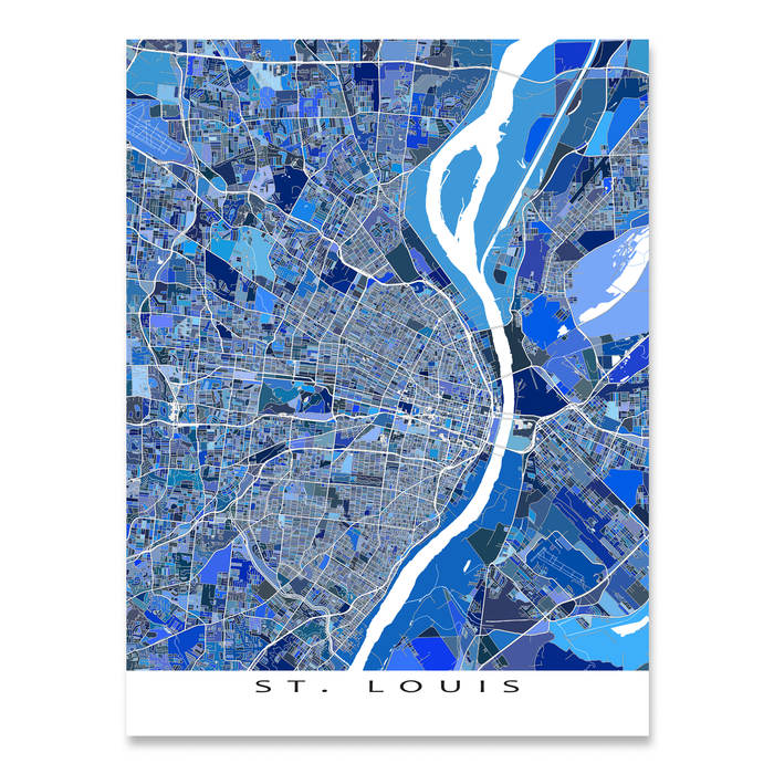 St. Louis, Missouri map art print in blue shapes designed by Maps As Art.