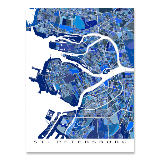St. Petersburg, Russia map art print in blue shapes designed by Maps As Art.