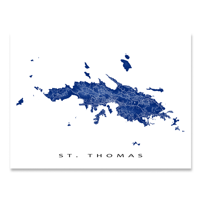 St Thomas Map Print Us Virgin Islands Colors Maps As Art