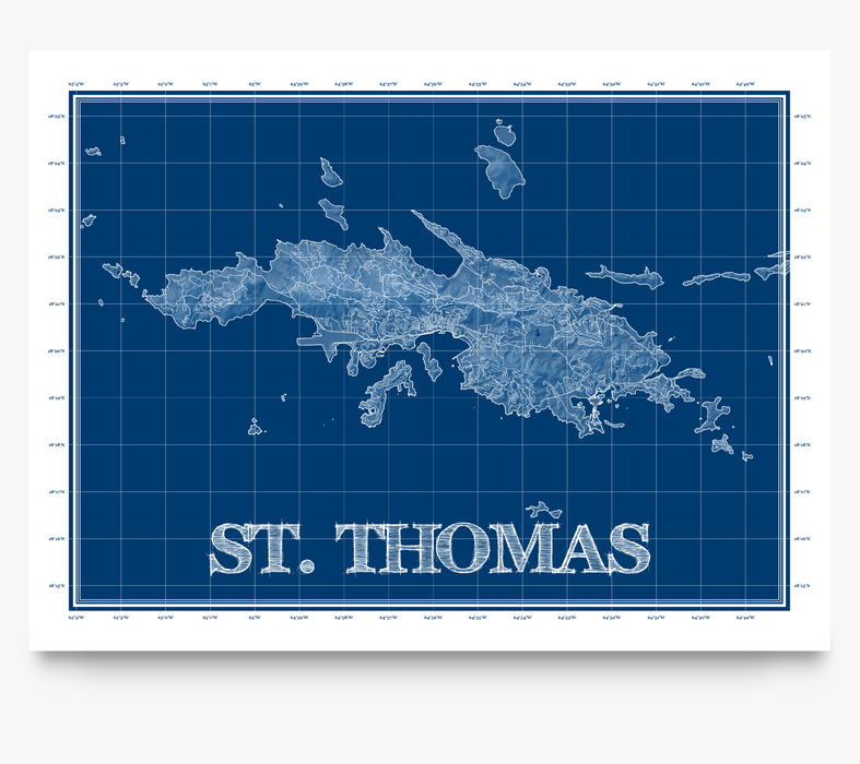 St. Thomas, USVI blueprint map art print designed by Maps As Art.
