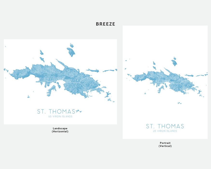 St. Thomas USVI map print in Breeze by Maps As Art.