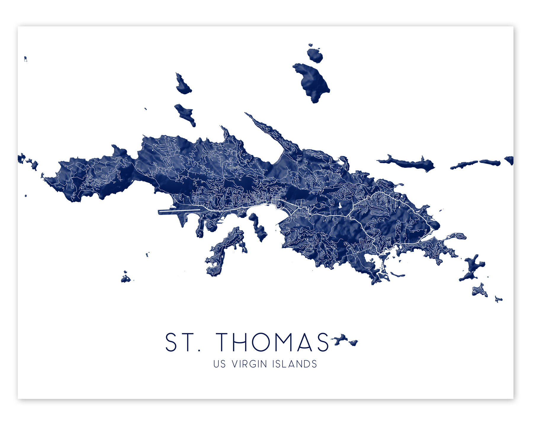 St. Thomas USVI map print in Midnight by Maps As Art.