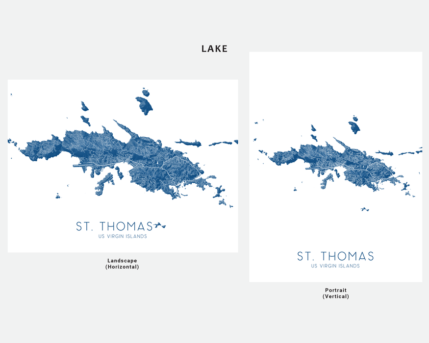 St. Thomas USVI map print in Lake by Maps As Art.