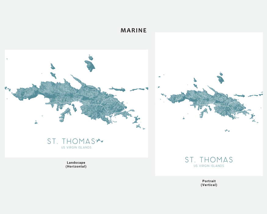 St. Thomas USVI map print in Marine by Maps As Art.