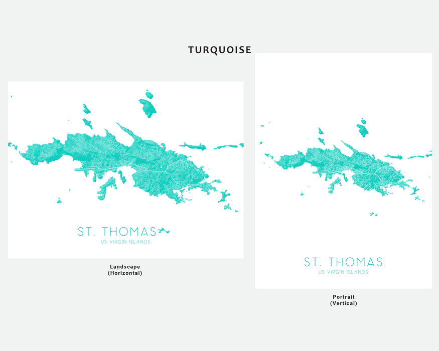 St. Thomas USVI map print in Turquoise by Maps As Art.