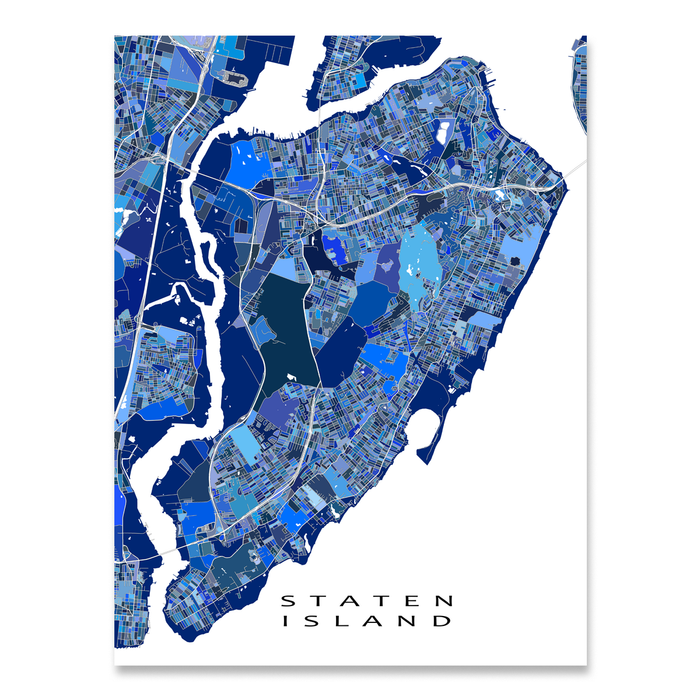 Staten Island, NYC map art print in blue shapes designed by Maps As Art.
