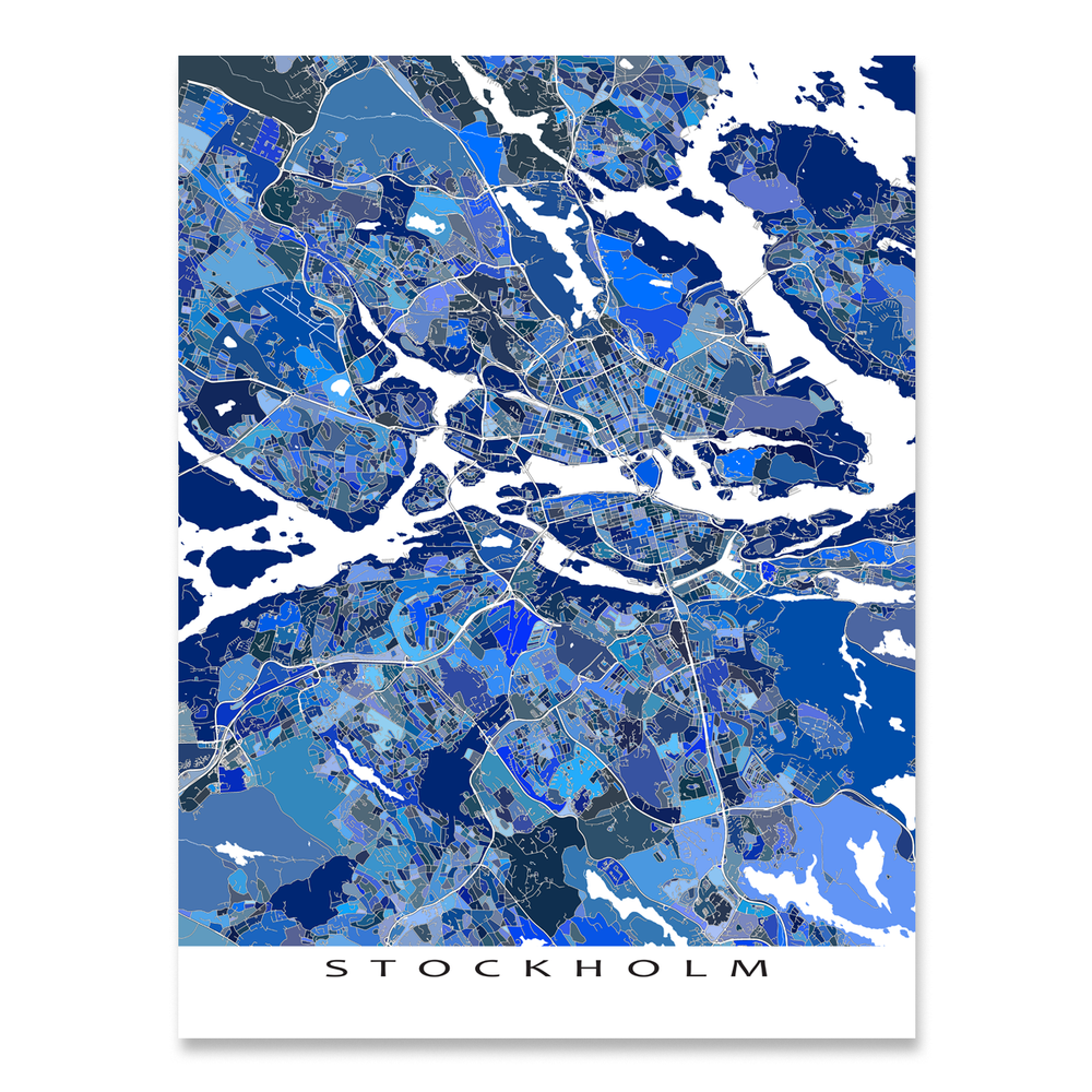 Stockholm, Sweden map art print in blue shapes designed by Maps As Art.