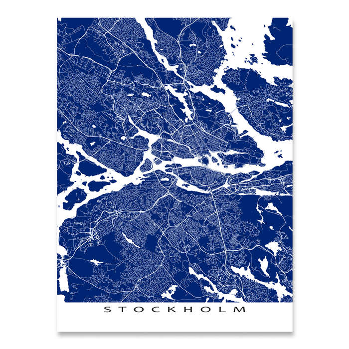Stockholm, Sweden map print with city streets and roads in Navy designed by Maps As Art.