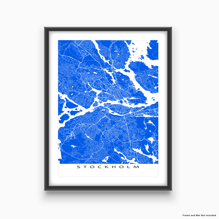 Stockholm, Sweden map print with city streets and roads in Blue designed by Maps As Art.