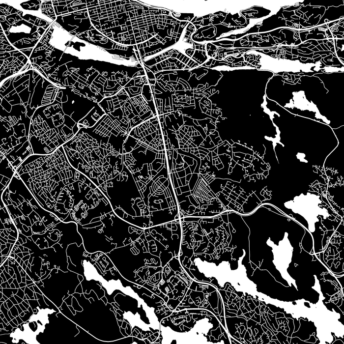 Stockholm, Sweden map print close-up with city streets and roads designed by Maps As Art.
