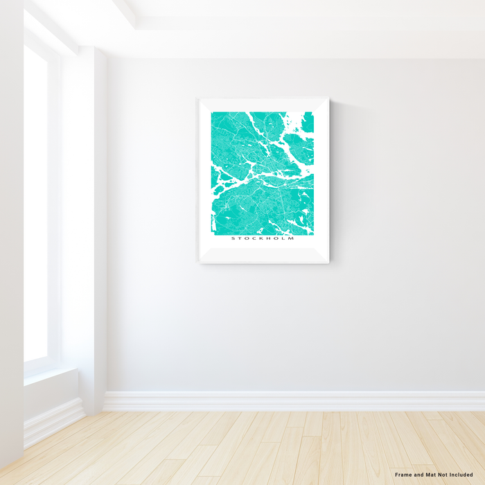 Stockholm, Sweden map print with city streets and roads in Turquoise designed by Maps As Art.