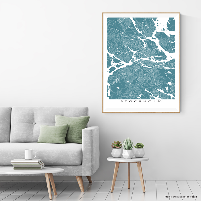 Stockholm, Sweden map print with city streets and roads in Marine designed by Maps As Art.