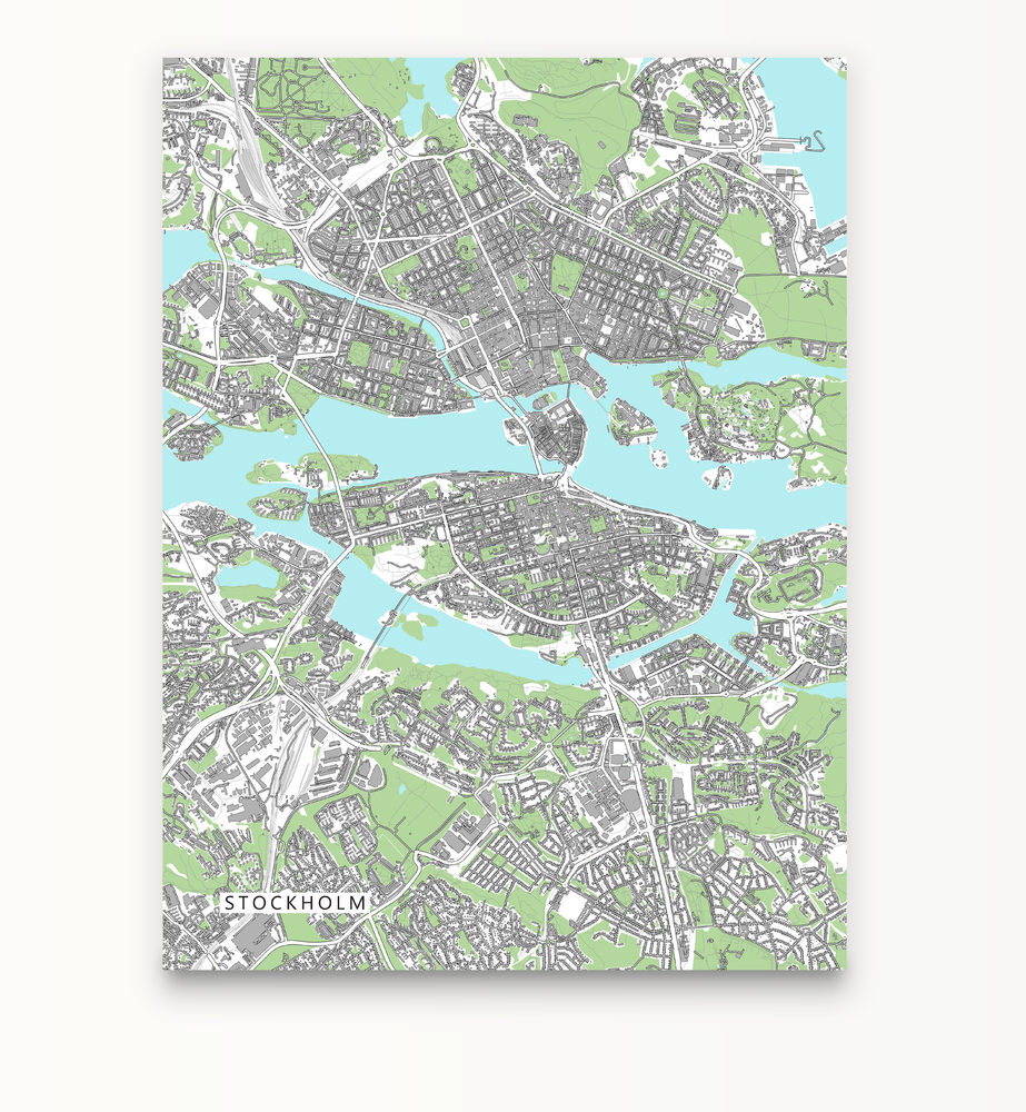 Stockholm, Sweden map art print with city streets and buildings designed by Maps As Art.