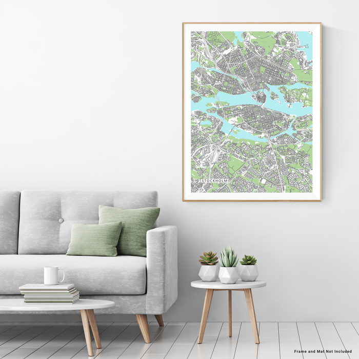 Stockholm Map Print, Sweden, Grey