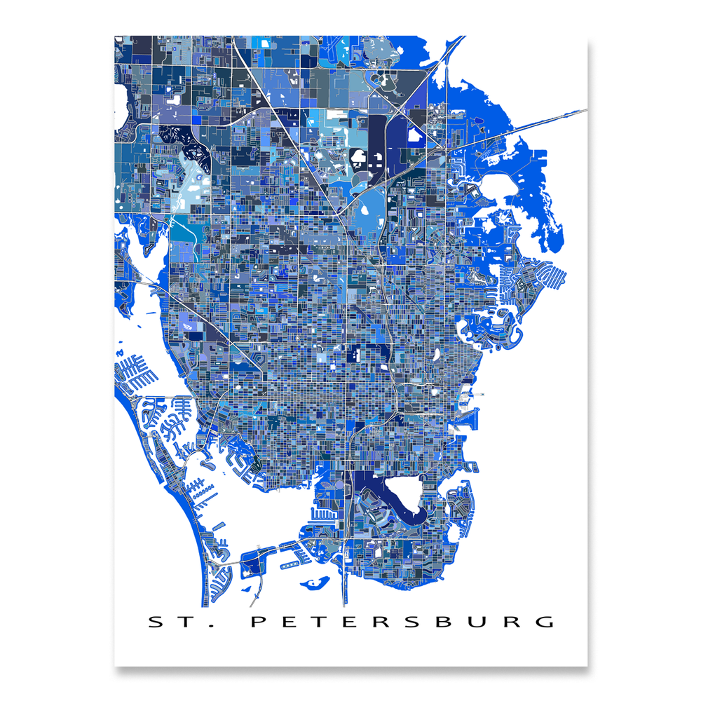St. Petersburg, Florida map art print in blue shapes designed by Maps As Art.