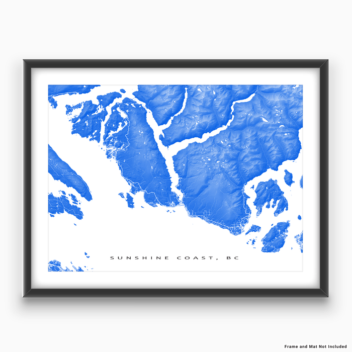 Sunshine Coast, BC, Canada map print with natural landscape and main roads in Blue designed by Maps As Art.