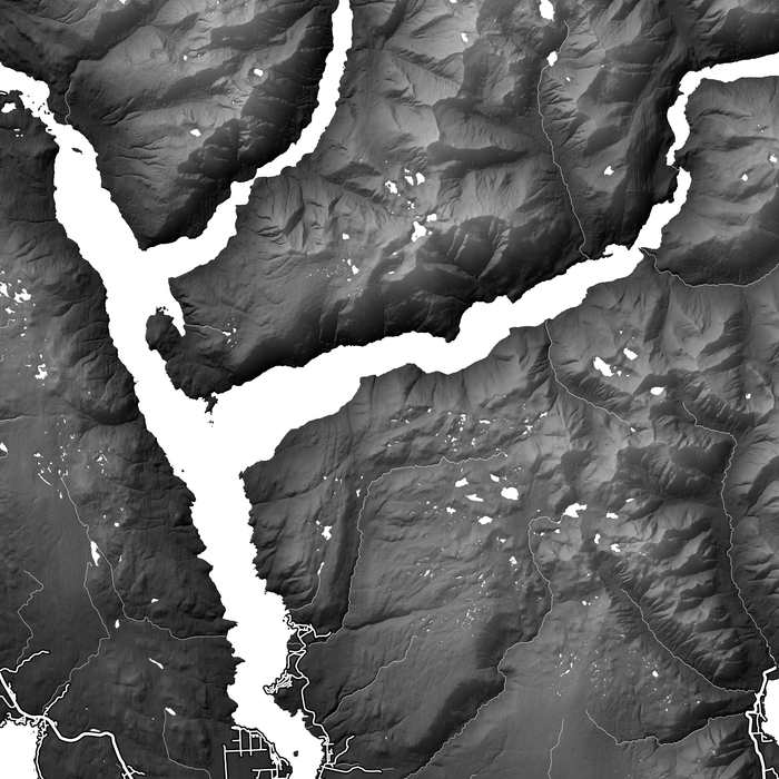 Sunshine Coast, BC, Canada close-up map print with natural landscape and main roads designed by Maps As Art.