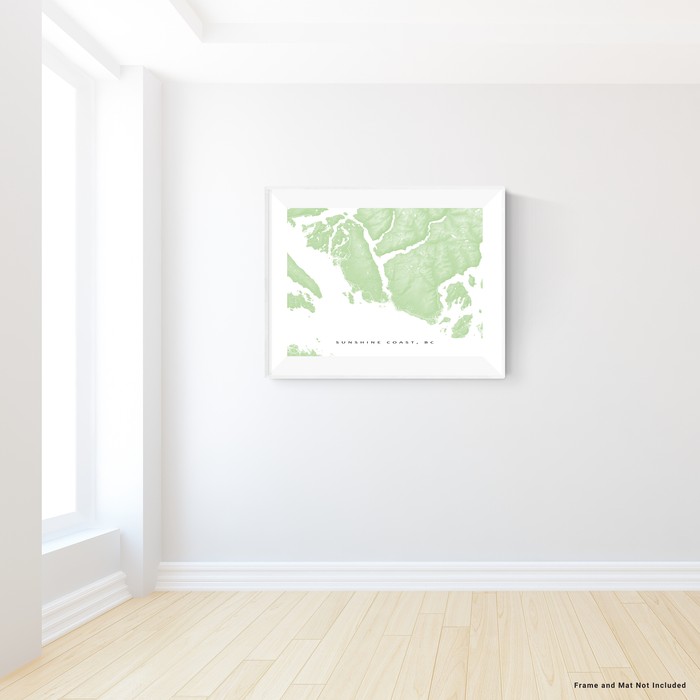 Sunshine Coast, BC, Canada map print with natural landscape and main roads in Sage designed by Maps As Art.