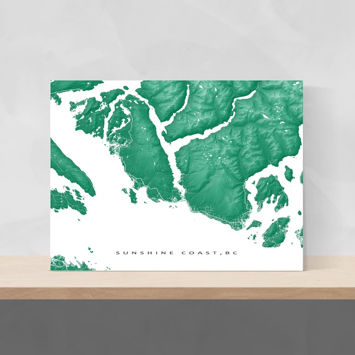 Sunshine Coast, BC, Canada map print with natural landscape and main roads in Green designed by Maps As Art.