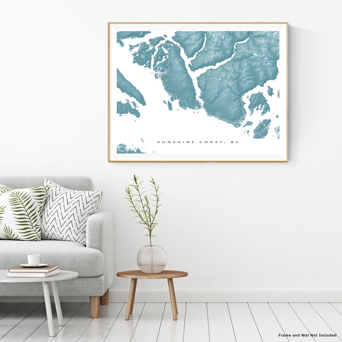 Sunshine Coast, BC, Canada map print with natural landscape and main roads in Marine designed by Maps As Art.
