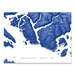 Sunshine Coast, BC, Canada map print with natural landscape and main roads in Navy designed by Maps As Art.