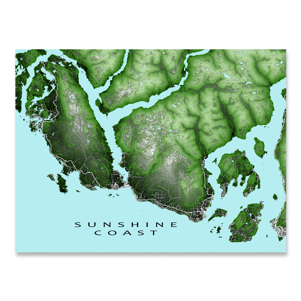 Sunshine Coast BC Map Print, Canada