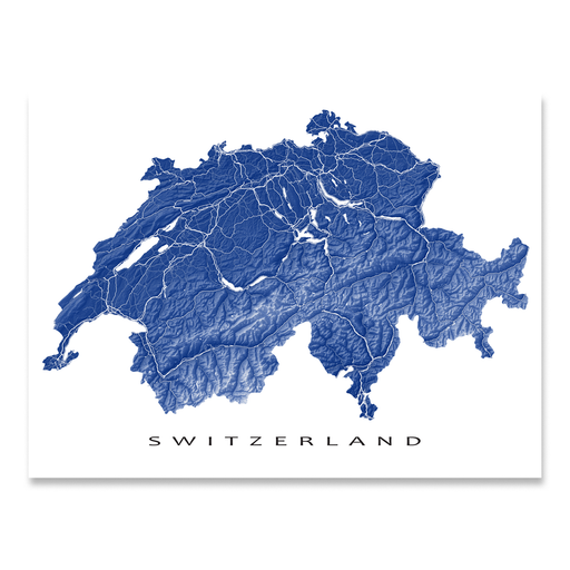 Switzerland map print with natural landscape and main roads in Navy designed by Maps As Art.