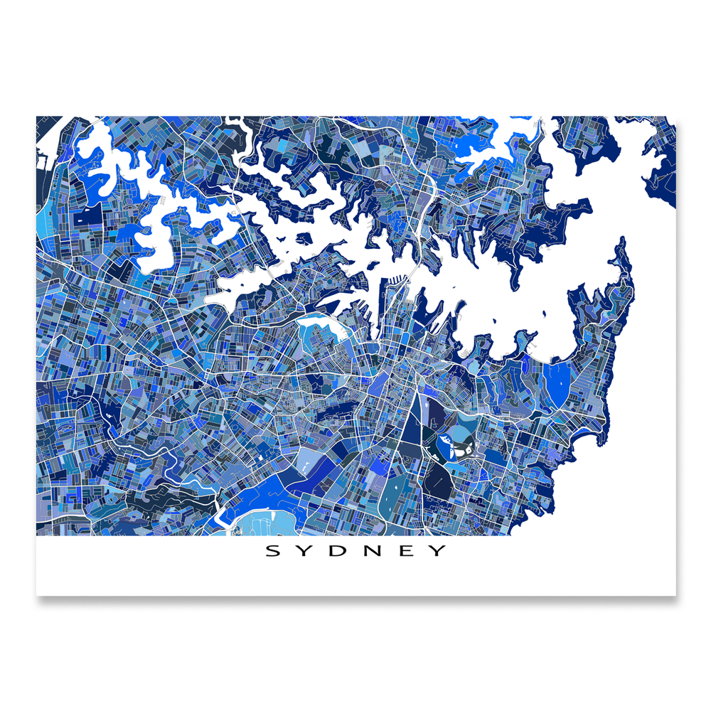 Sydney, Australia map art print in blue shapes designed by Maps As Art.