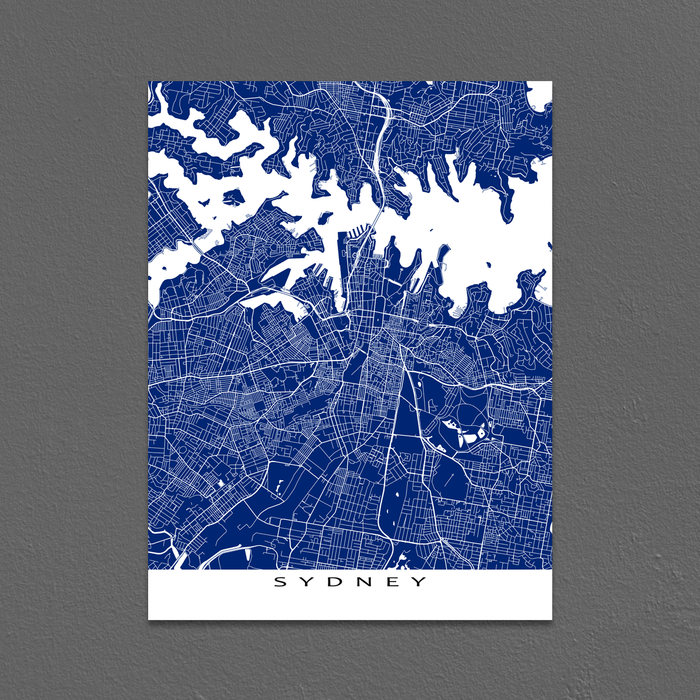 Sydney, Australia map print with city streets and roads in Navy designed by Maps As Art.