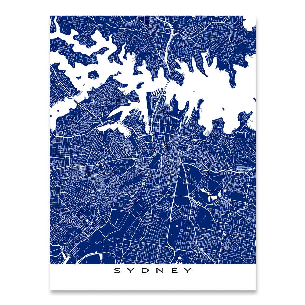 Sydney Map Print, Australia, Colors