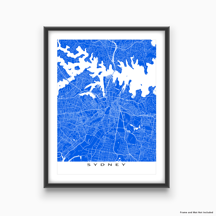 Sydney, Australia map print with city streets and roads in Blue designed by Maps As Art.