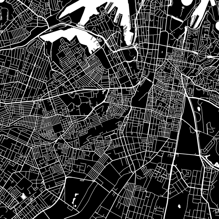 Sydney, Australia map print close-up with city streets and roads designed by Maps As Art.