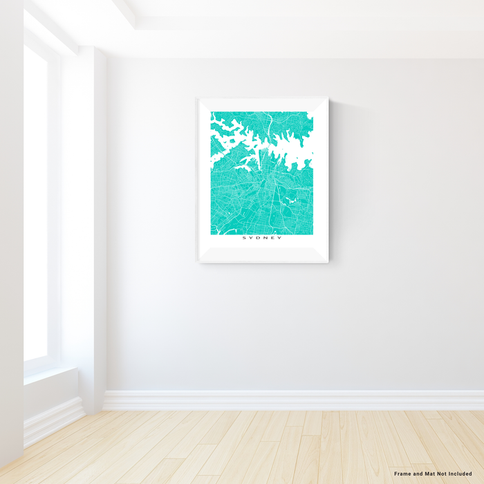 Sydney, Australia map print with city streets and roads in Turquoise designed by Maps As Art.