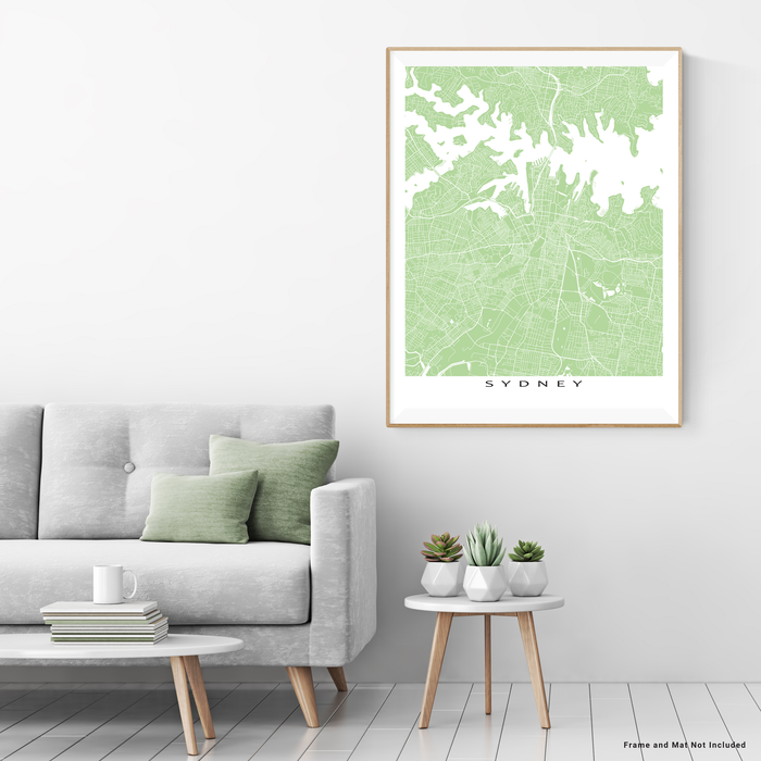 Sydney, Australia map print with city streets and roads in Sage designed by Maps As Art.