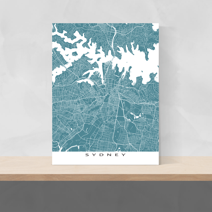 Sydney, Australia map print with city streets and roads in Marine designed by Maps As Art.