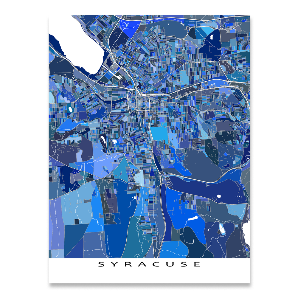 Syracuse, New York map art print in blue shapes designed by Maps As Art.