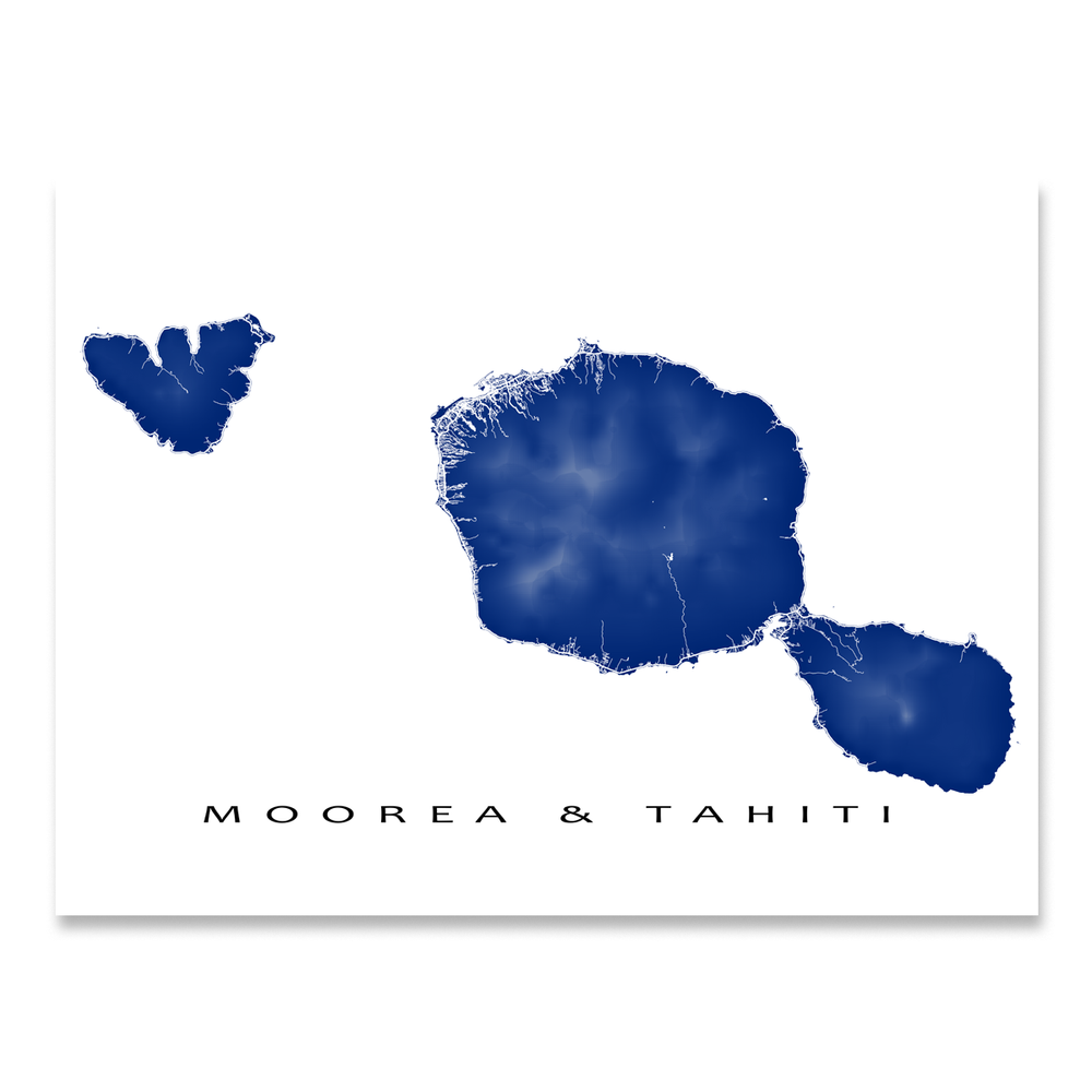 Tahiti and Moorea map print with natural landscape and main island roads in Navy designed by Maps As Art.