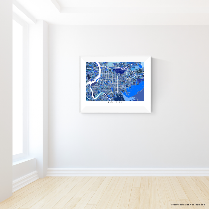 Taipei, Taiwan map art print in blue shapes designed by Maps As Art.
