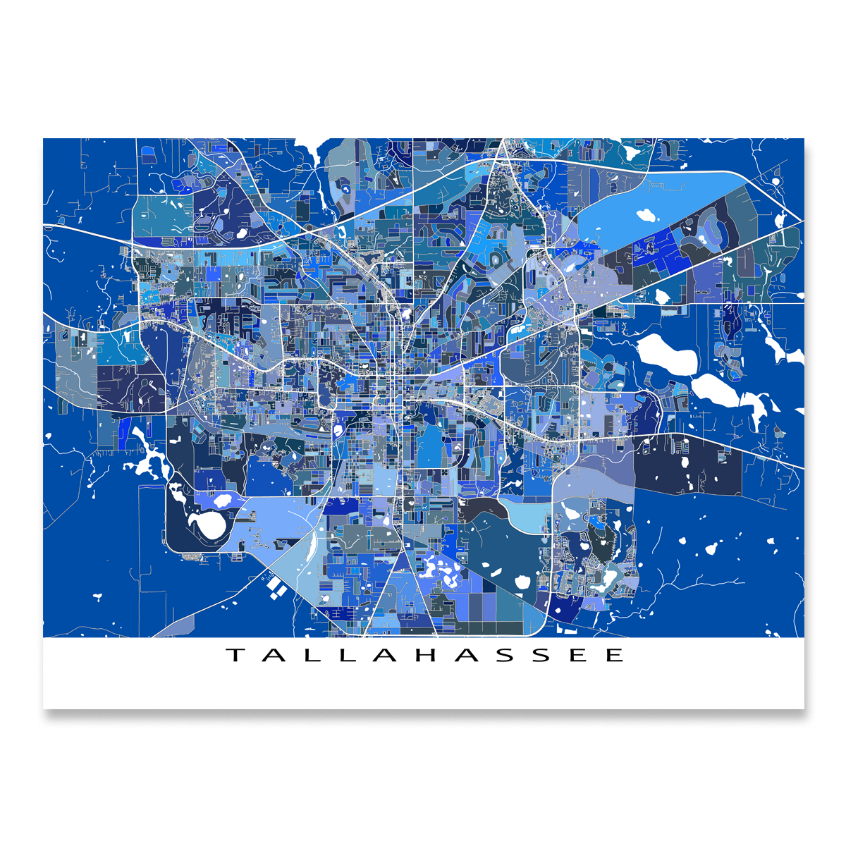 Tallahassee Map Print, Florida, USA