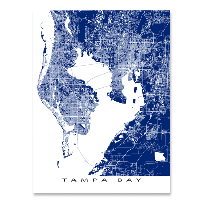 Map Of Tampa Bay Florida.Tampa Bay Map Print Florida