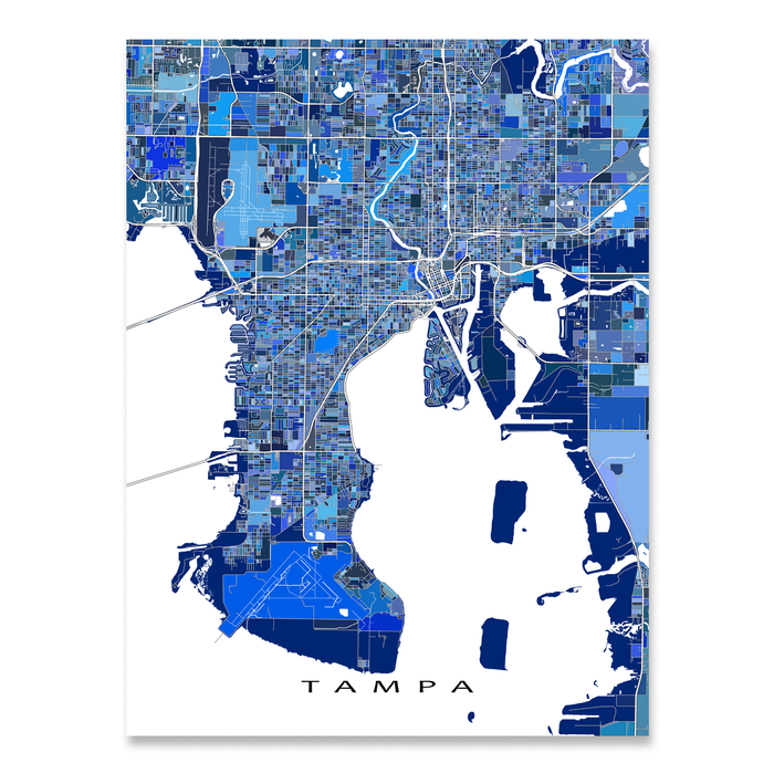 Tampa, Florida map art print in blue shapes designed by Maps As Art.