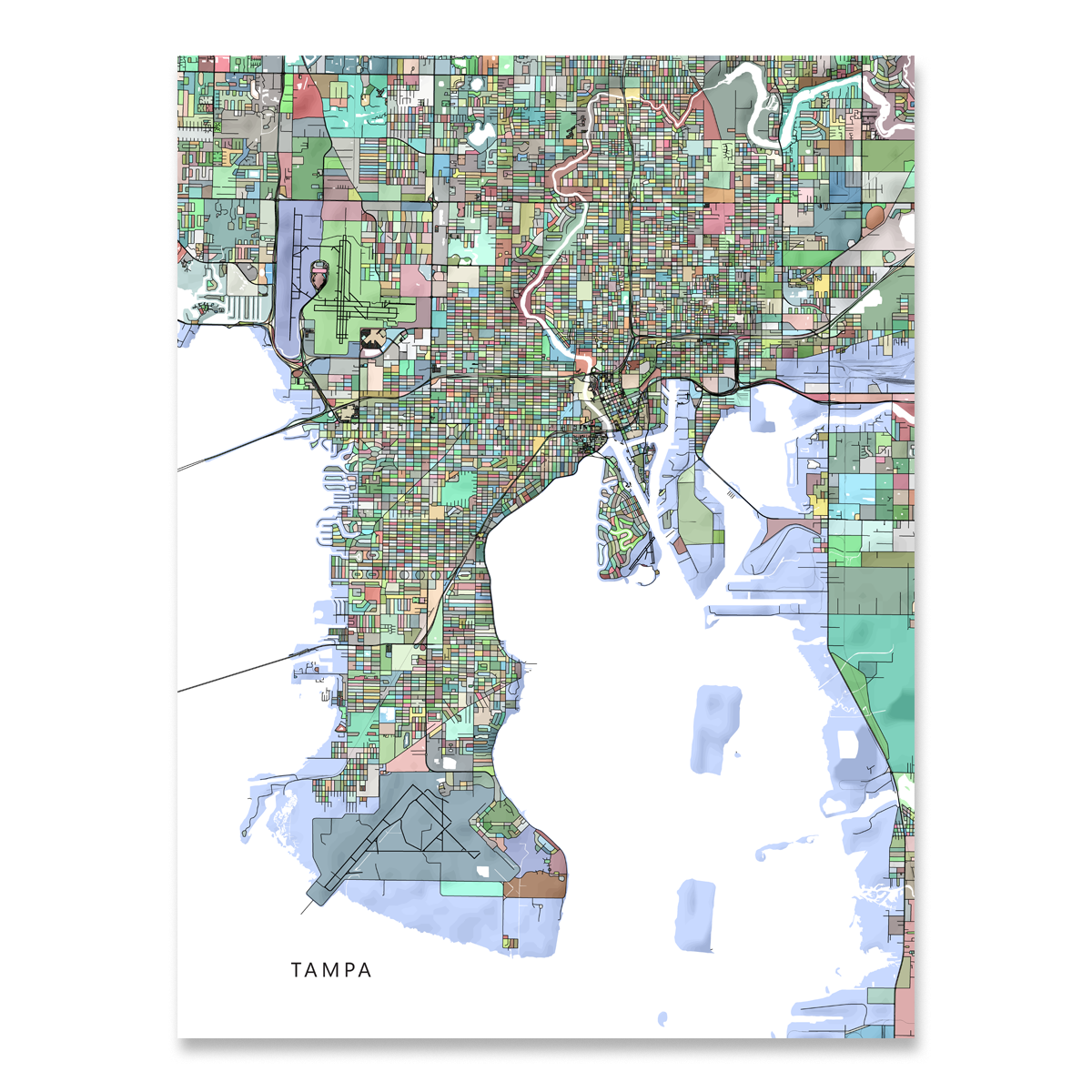 Tampa Map Print, Florida, Colorful