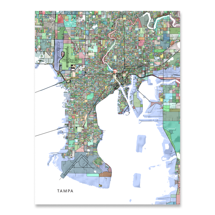 Tampa, Florida map art print in colorful shapes designed by Maps As Art.